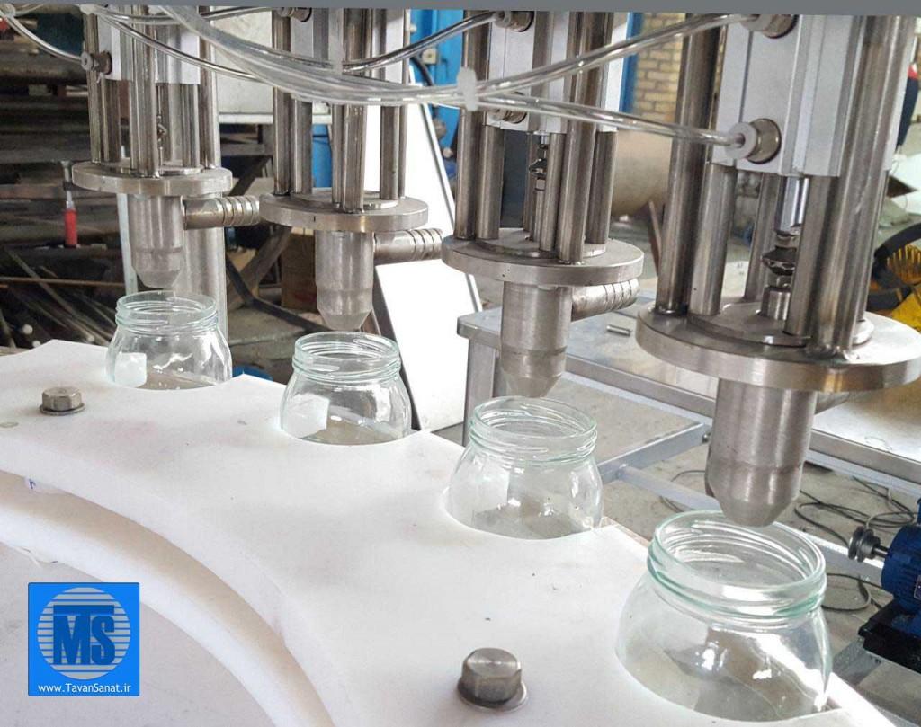 ماشین پرکن 4 نازل ظروف شیشه با دهانه 75mm