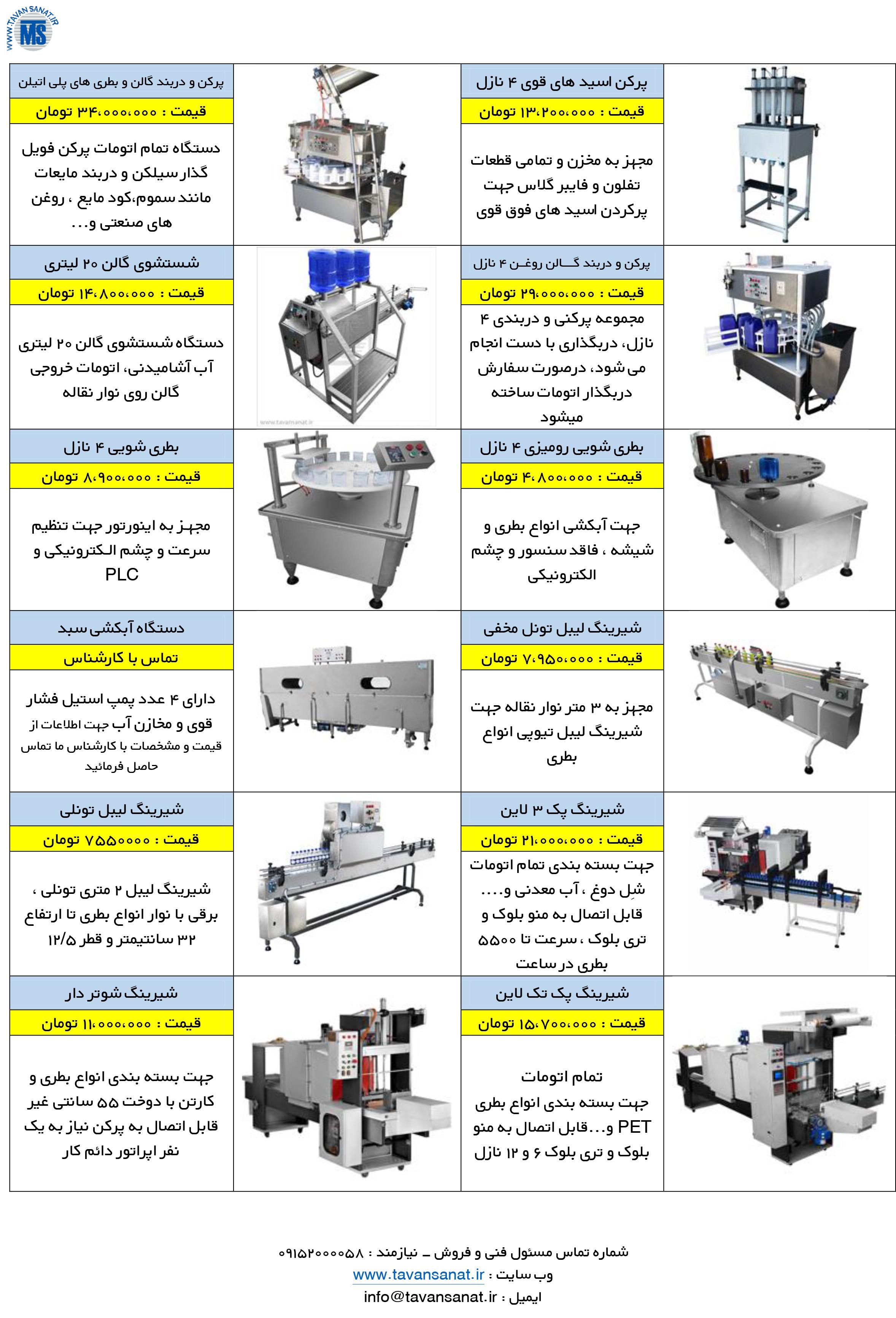 توان صنعت - دستگاه پرکن مایعات رقیق و غلیظ ، تری بلوک و شیرینگ پک ، دستگاه پر کن