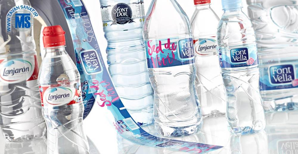 لیبل OPP روی بطری آب معدنی